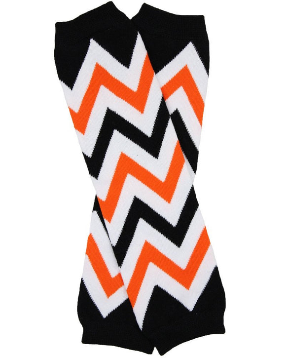 Black Orange White Halloween Chevron Leg Warmers