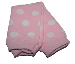 Light Pink White Polka Dot Leg Warmers - Dream Lily Designs