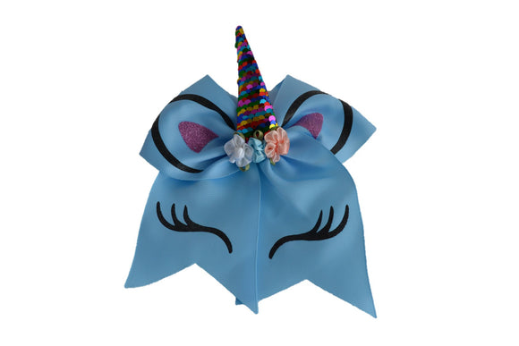Glitter Light Blue Large Unicorn Bow - Dream Lily Designs