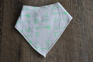White Mint Arrows Bandana Bib - Dream Lily Designs