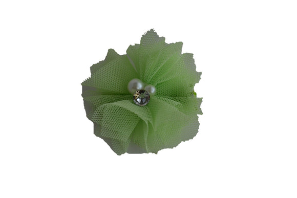 Tulle Crystal Flower Hair Clip - Mint Green - Dream Lily Designs