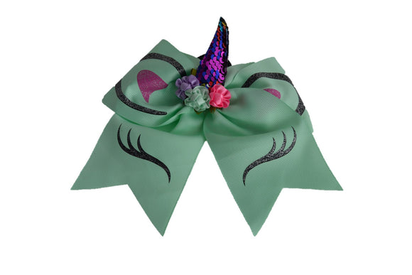 Glitter Mint Green Large Unicorn Bow - Dream Lily Designs