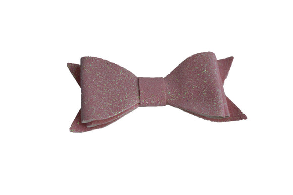Light Pink Glitter Leather Bow - Dream Lily Designs
