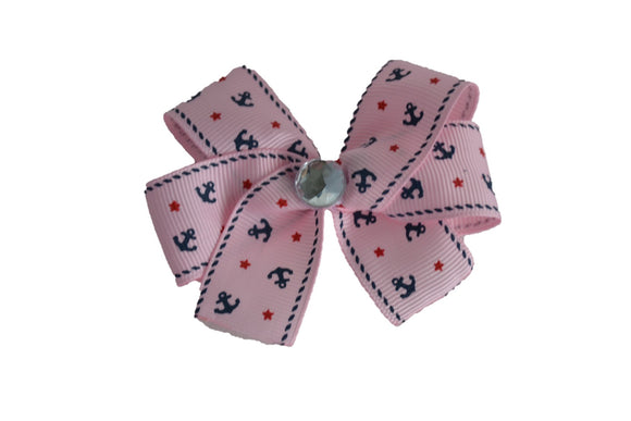 1 Inch Light Pink Anchor Pattern Bow (Misc Patterns) - Dream Lily Designs