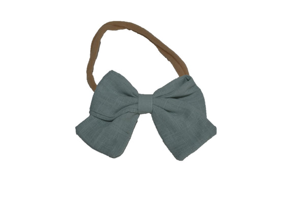 Light Blue Teal Grey Linen Bow Baby Nylon Headband - Dream Lily Designs