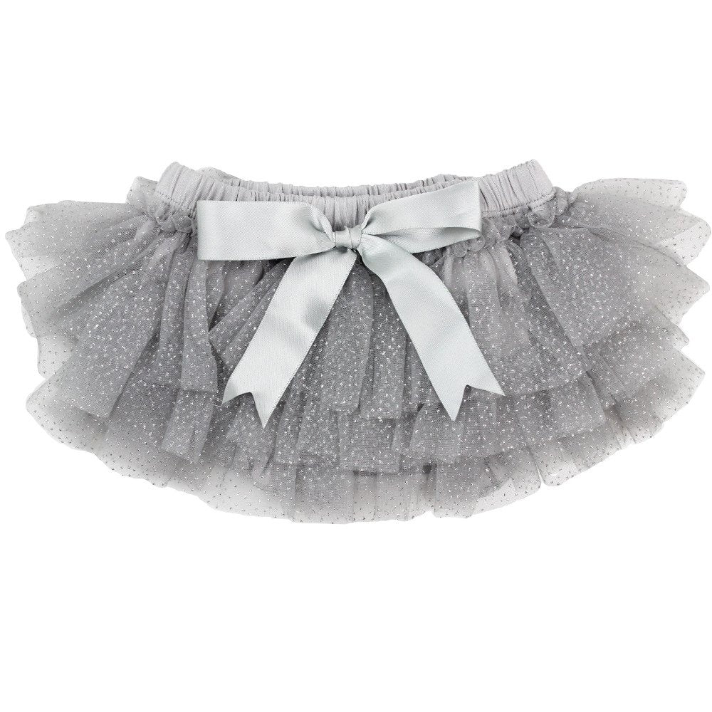 Light Grey Chiffon Sparkle Tutu Ruffle Diaper Cover 1