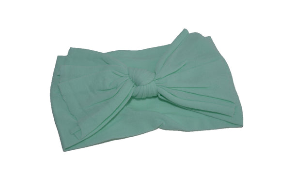 Mint Green Nylon Ragged Knot Baby Wide Headband - Dream Lily Designs