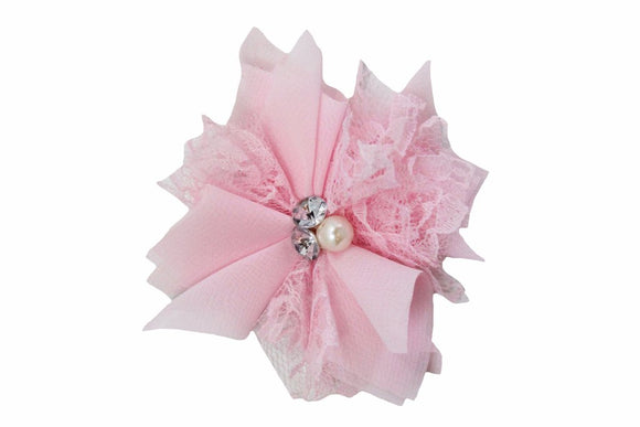 Light Pink Lace Crystal Pearl Flower Hair Clip - Dream Lily Designs