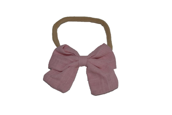Light Pink Linen Bow Baby Nylon Headband - Dream Lily Designs