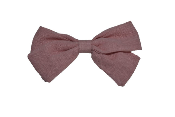 Dusty Rose Light Pink Linen Baby Hair Bow - Dream Lily Designs
