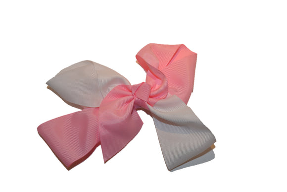 Light Pink White School Spirit 6 Inch Boutique Hair Bow - Dream Lily Designs