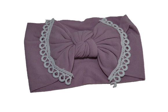 Light Purple Nylon Bow Knot with Lace Trim Baby Wide Headband - Dream Lily Designs
