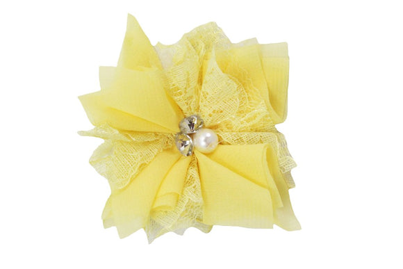 Light Yellow Lace Crystal Pearl Flower Hair Clip - Dream Lily Designs