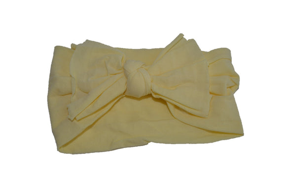 Light Yellow Nylon Ragged Knot Baby Wide Headband - Dream Lily Designs