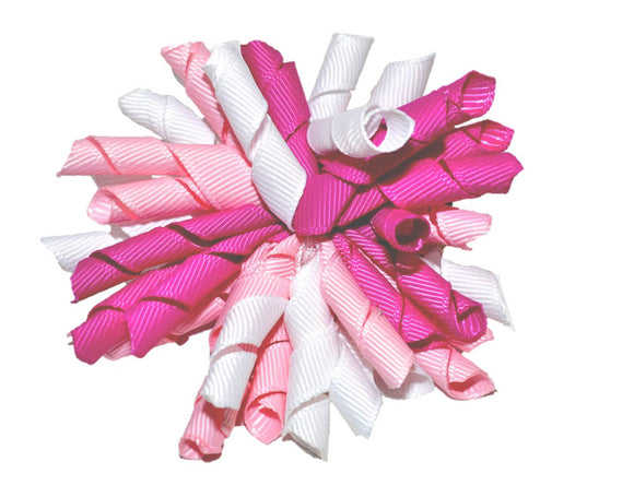 Baby Pink Purpley Pink White Large Korker Ribbon Hair Bow Clip