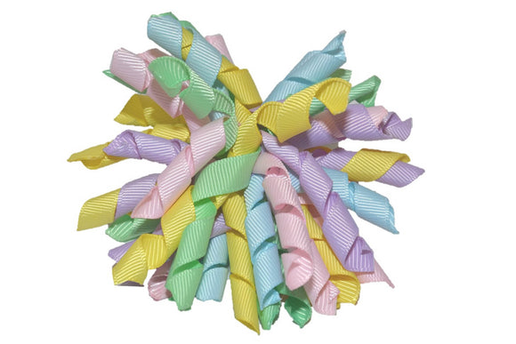Light Green Yellow Blue Pink Purple Large Korker Ribbon Hair Bow Clip - Dream Lily Designs