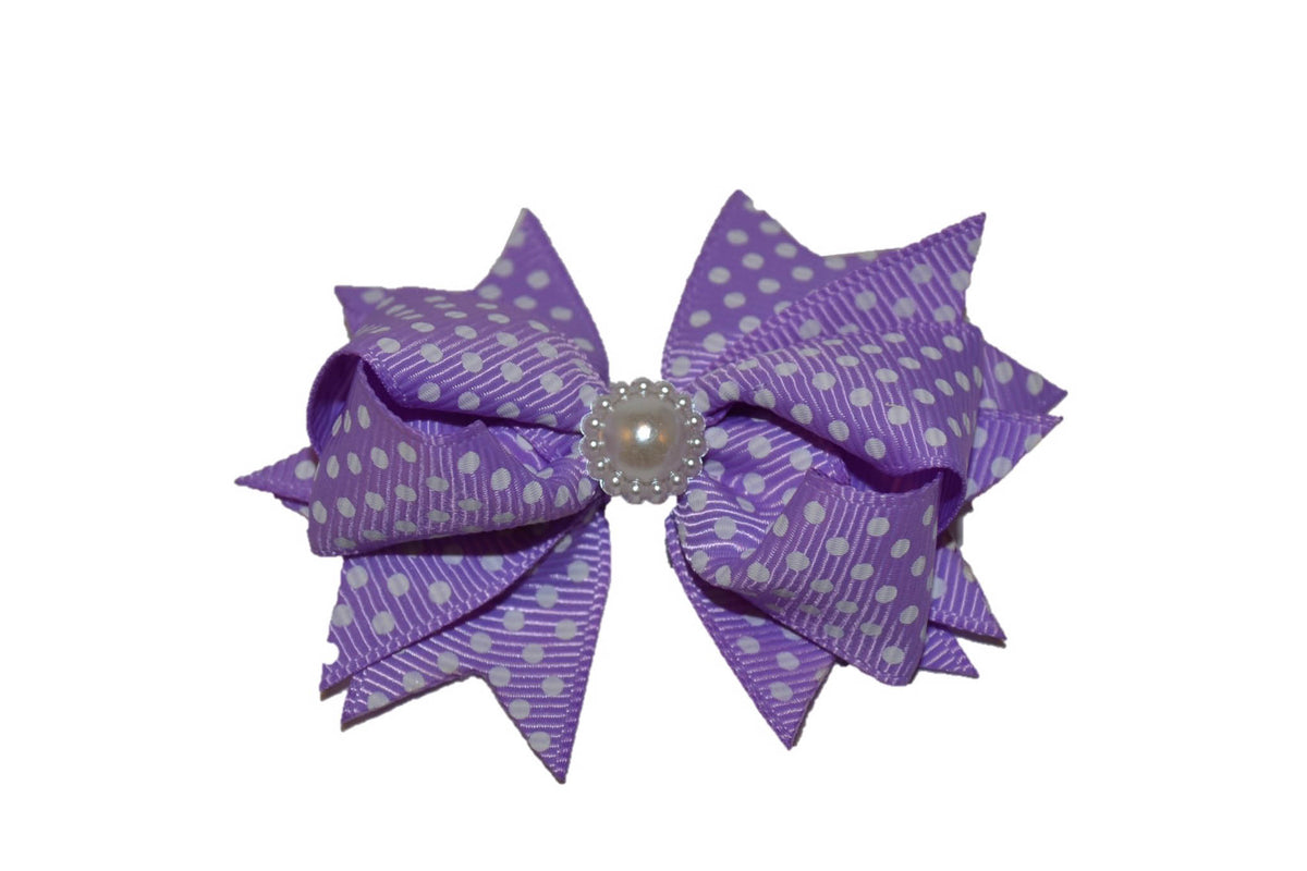 4ae6d986096b Light Purple with White Polka Dots Stacked 3 Inch Boutique Hair Bow – Dream  Lily Designs