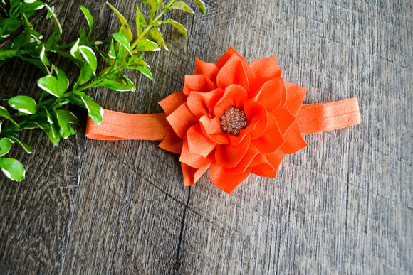 Crystal Lily Headband - Orange with Crystal - Dream Lily Designs