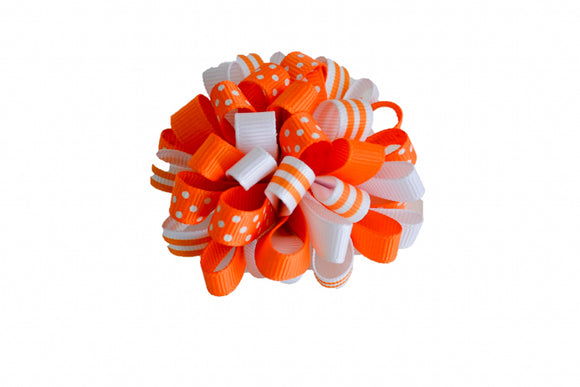 Loop Ribbon Hair Bow - Orange White - Dream Lily Designs