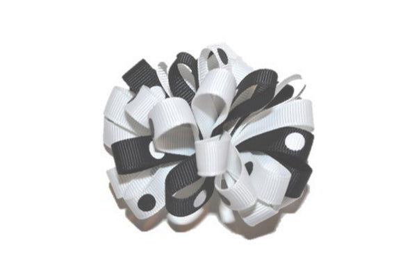 Loop Ribbon Hair Bow - White Black Polka Dot