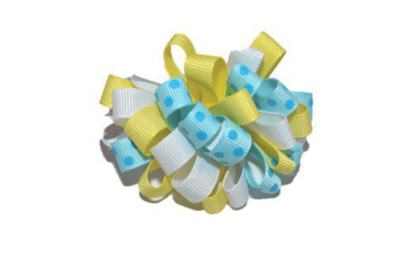 Loop Ribbon Hair Bow - Light Blue Yellow White