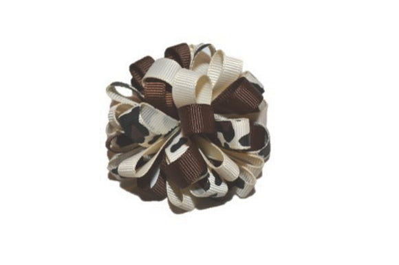 Loop Ribbon Hair Bow - Tan Brown Cheetah