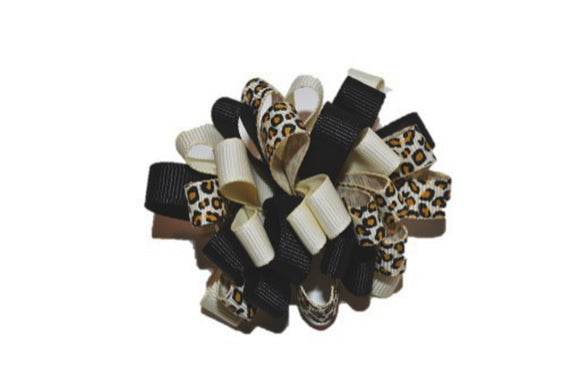 Loop Ribbon Hair Bow - Tan Black Cheetah