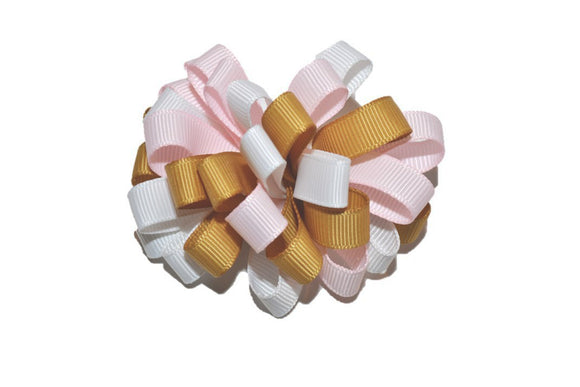 Loop Ribbon Hair Bow - Light Pink White Gold