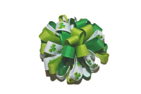 Loop Ribbon Hair Bow - St. Patrick's Day Green White
