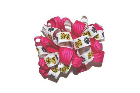 Loop Ribbon Hair Bow - Hot Pink Cheetah