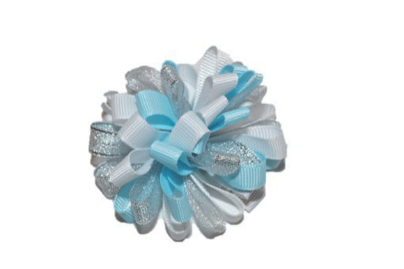 Loop Ribbon Hair Bow - Light Blue White Silver