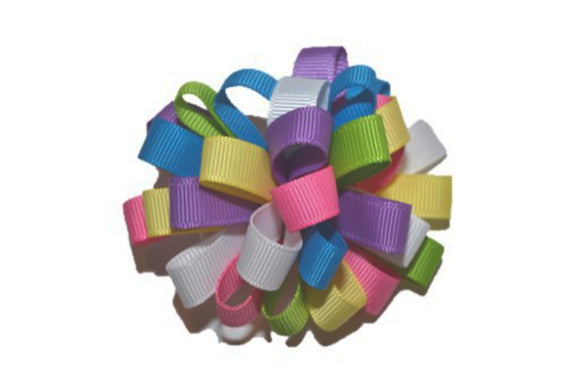 Loop Ribbon Hair Bow - Blue Purple Pink White Yellow Green