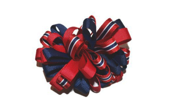 Loop Ribbon Hair Bow - Navy Blue Red