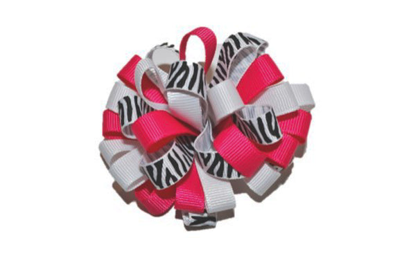 Loop Ribbon Hair Bow - White Hot Pink Zebra
