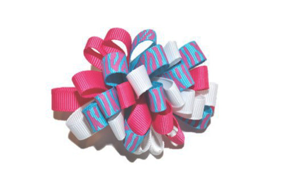 Loop Ribbon Hair Bow - Blue Pink Zebra - Dream Lily Designs