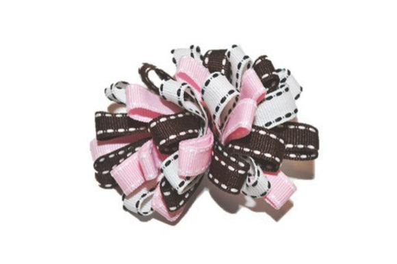 Loop Ribbon Hair Bow - Light Pink White Brown