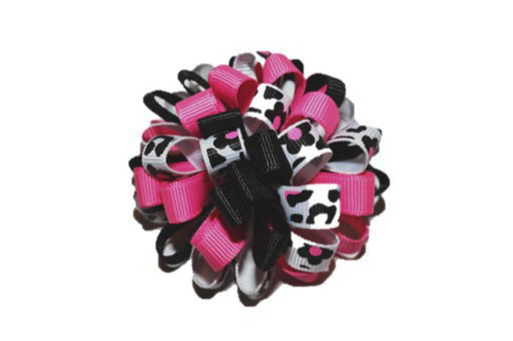 Loop Ribbon Hair Bow - White Black Pink Cheetah