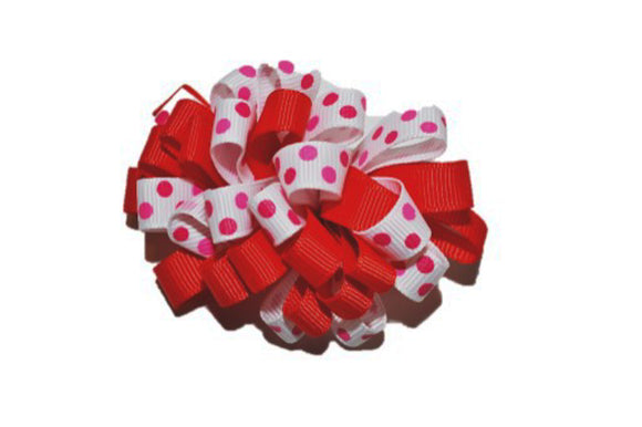 Loop Ribbon Hair Bow - Red White Pink Polka Dot