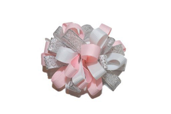 Loop Ribbon Hair Bow - Light Pink White Silver
