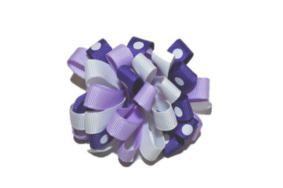 Loop Ribbon Hair Bow - Light Purple White Polka Dot