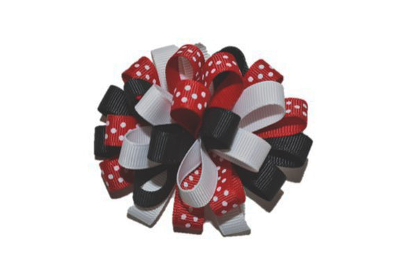 Loop Ribbon Hair Bow - White Black Red