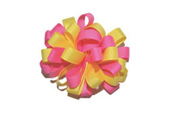 Loop Ribbon Hair Bow - Pink Yellow
