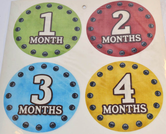 Milestone Stickers - Red Blue Yellow Green Bolt - Dream Lily Designs
