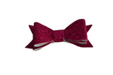 Hot Pink Glitter Leather Bow - Dream Lily Designs