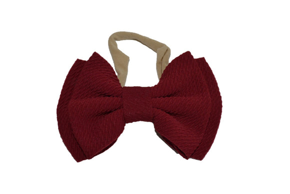 Maroon Fabric Double Bowtie Baby Headband - Dream Lily Designs