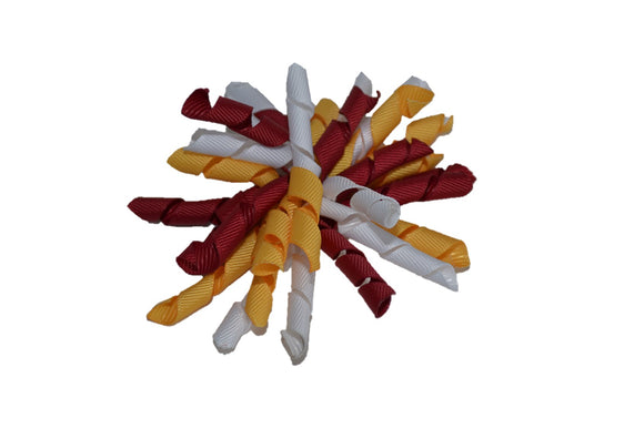 Maroon White Yellow Medium Korker Ribbon Hair Bow Clip - Dream Lily Designs