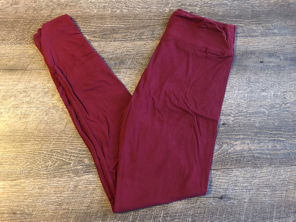 Womens or Teen Ultra Soft Leggings - Legging Depot Brand - Ankle Length - Maroon - Dream Lily Designs