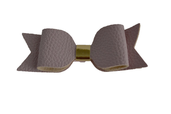 Mauve Pink Leather Bow - Dream Lily Designs
