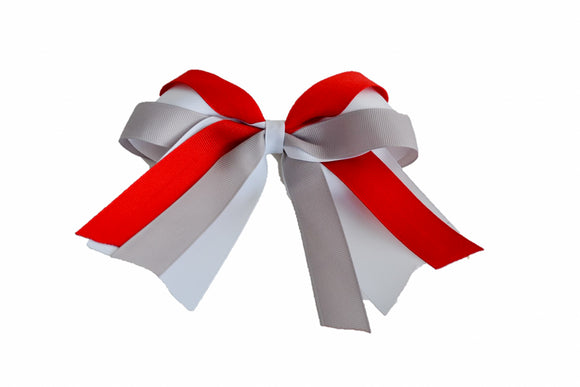 White, Red and Grey Triple Ribbon Medium Cheer Bow Clip - Dream Lily Designs