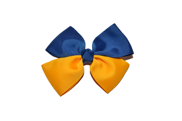 Blue Gold Double Ribbon School Spirit Hair Bow - Dream Lily Designs
